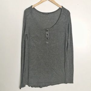 BRANDY MELVILLE Long Sleeve Ribbed Henley